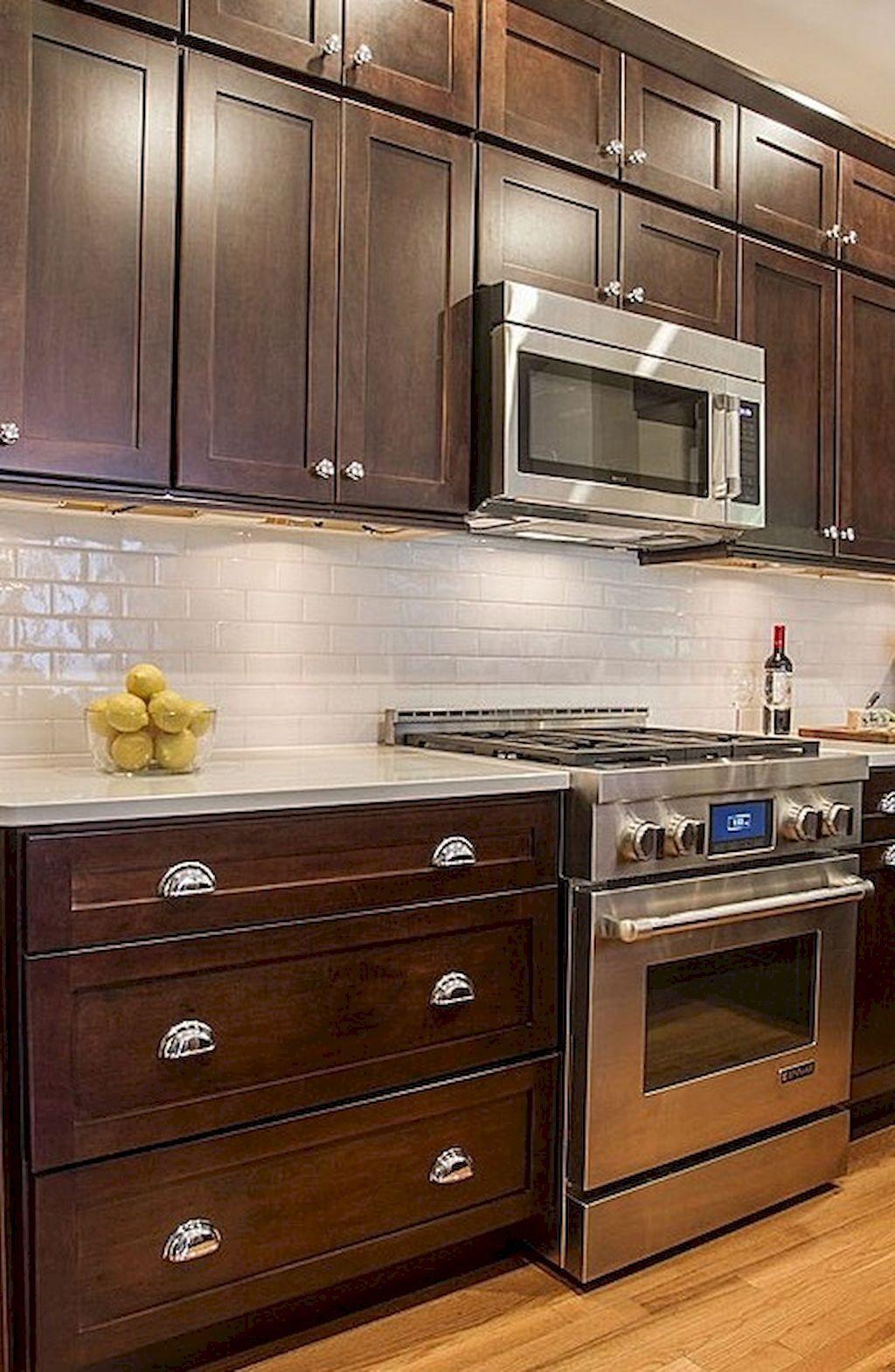 Gorgeous kitchen backsplash decor with dark cabinets (63 ...