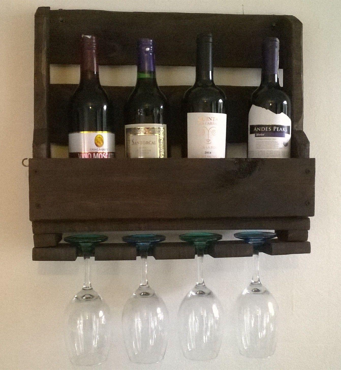 Vinera de pared para cuatro vinos para su rincon ideal - Botellero de madera para vino ...