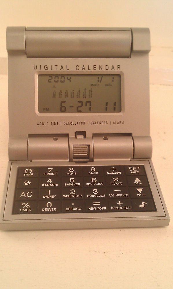 Digital Calendar World Time Calculator Alarm Clock Travel Silver