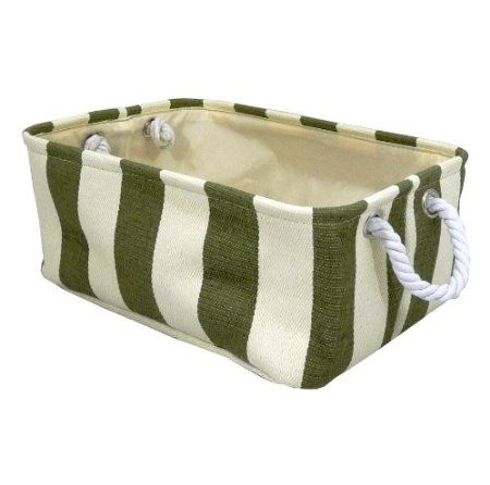 Charmant High Quality Large Green Striped Strong Shallow Rectangular Canvas Storage  Basket Box: Amazon.co
