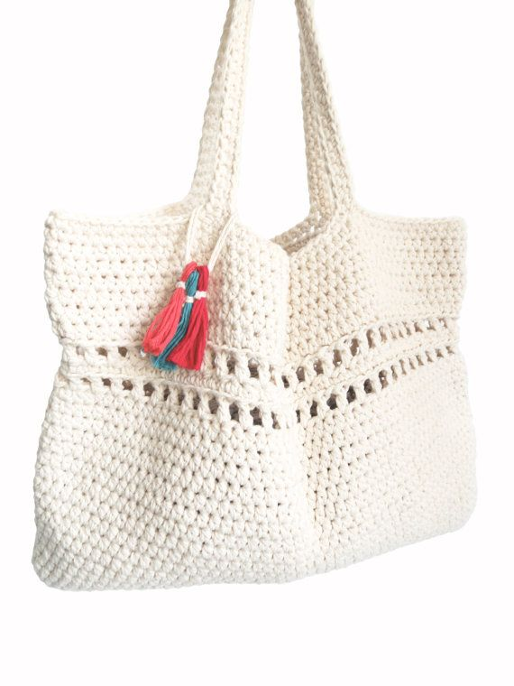 PATTERN for Beach Tote Weekend Bag Crochet Large Boho Purse // Day ...