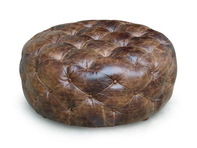 Round Leather Tufted Ottoman Round Leather Ottoman Leather Ottoman