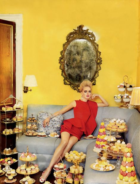 modern marie antoinette - chic and opulent with pastries. Photography by Ruven Afanador for Tatler UK