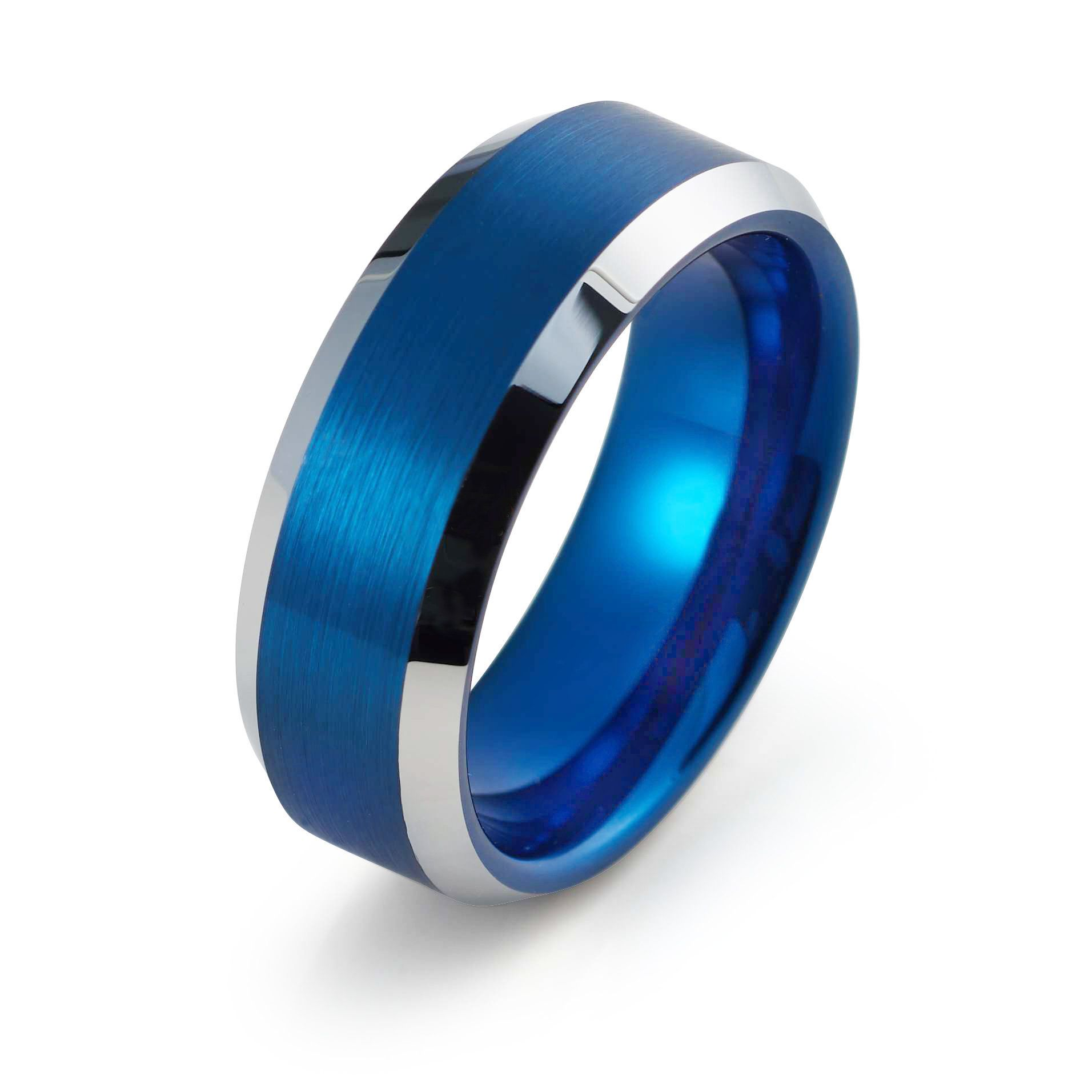 Blue Wedding Band Tungsten Ring 8mm Blue Ring Mens Wedding Band