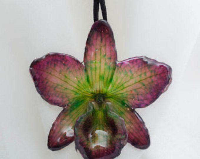 Puntada de peyote orquídea collar con perlas de Swarovski en