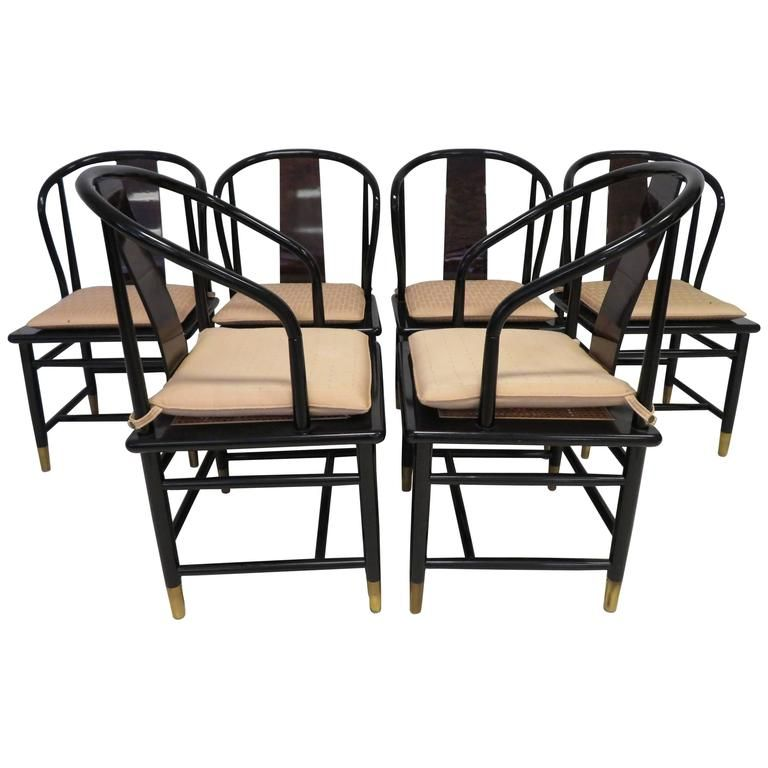 Fabulous Set Of Six Scene Three Asian Style Lacquered Dining Enchanting Henredon Dining Room Sets Inspiration Design