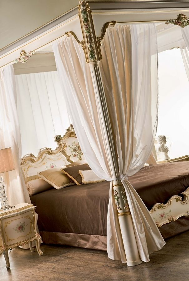 Double Bed Canopy double bed / canopy / classic / fabric - venere - silik