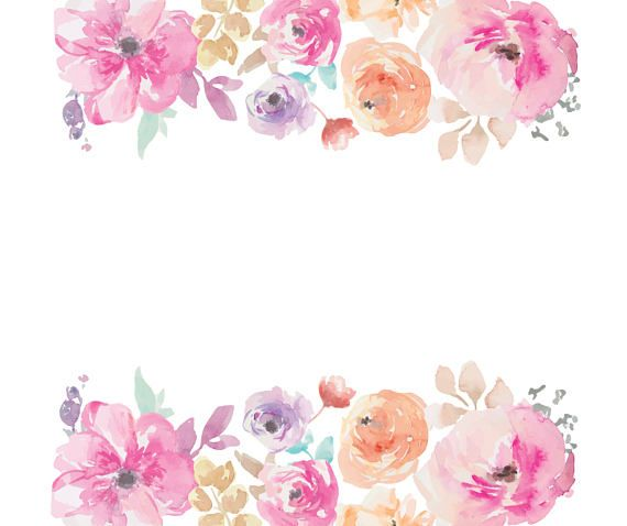 Watercolour Flower Frame Border Clip Art Graphic Design PNG