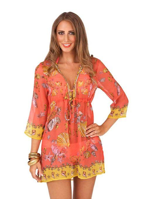 74be05a7a6b5c Lora Dora Womens Kaftan Top Beachwear Chiffon Cover Up Short Summer Dress  Ladies 8 - 14  Amazon.co.uk  Clothing