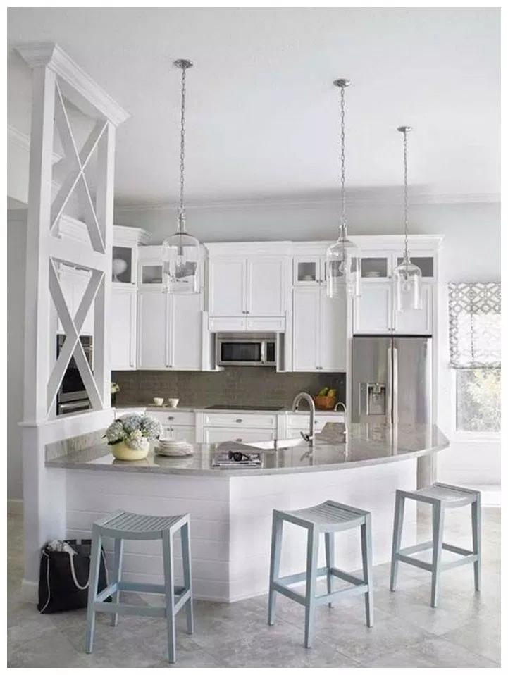 71 stylish white kitchen cabinets decor ideas 12   Curved ...