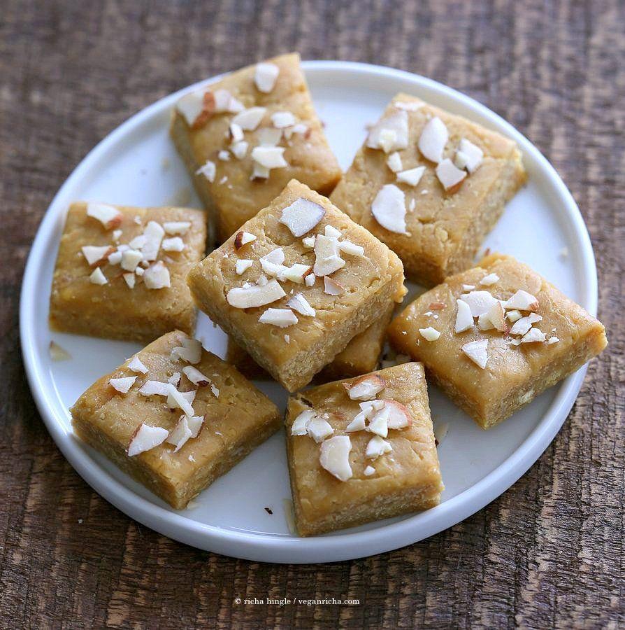 Besan Burfi With Condensed Milk Dairy Free Chickpea Flour Fudge Vegan Richa Recipe Indian Dessert Recipes Condensed Milk Recipes Vegan Indian Dessert