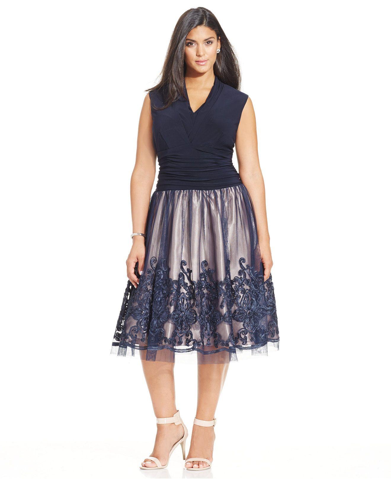 sl fashions plus size embroidered pleat dress - plus size dresses