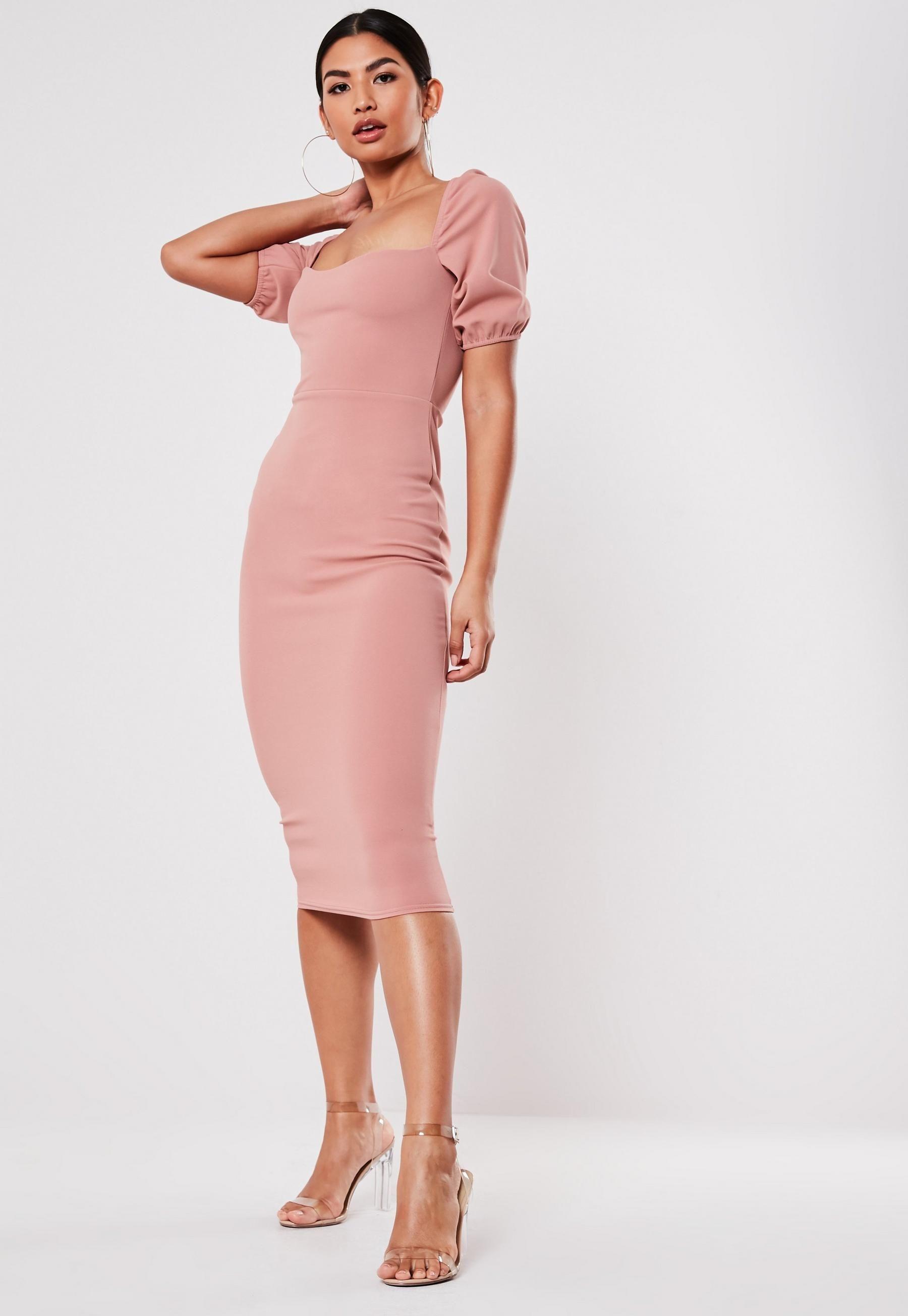 Rose Puff Sleeve Sweetheart Neck Midi Dress Missguided Trending Dresses Sweetheart Neck Midi Dress Dresses [ 2608 x 1800 Pixel ]