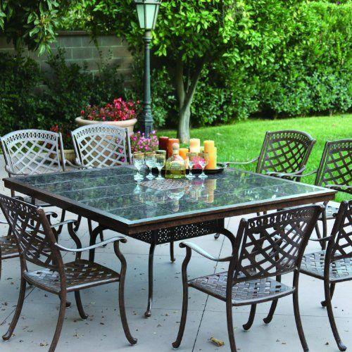9 Piece Outdoor Dining Set Rubaiyat Expandable Table Cast Aluminum Furniture Sunvuepatio Outdoor Dining Set Patio Aluminum Patio Furniture