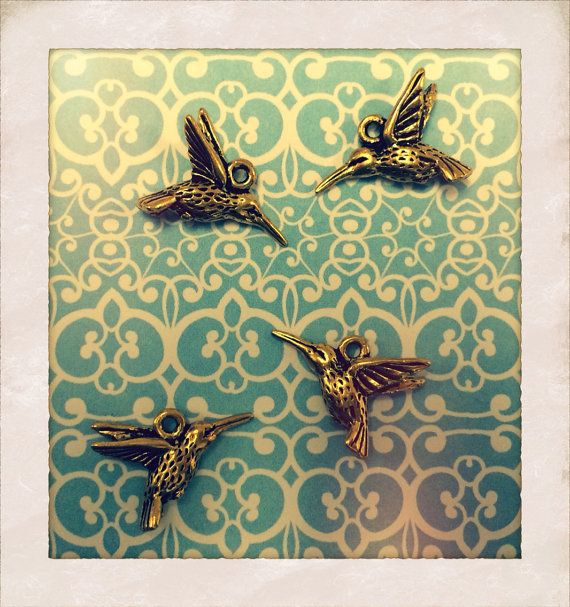 Gold Tone Hummingbird Charms by KnitPurlCurate on Etsy, $3.00