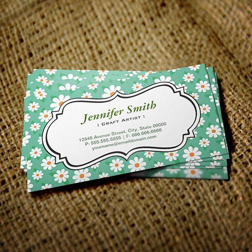 Craft Artist Elegant Green Daisy Business Cards Craft Business Cards Floral Business Cards Business Cards Creative