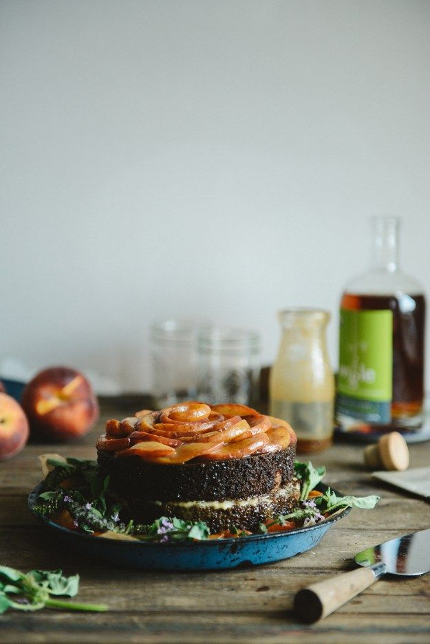 Peach Whiskey Spelt Cake with Smoked Sea Salt Caramel & Caramelized Peaches   With The Grains