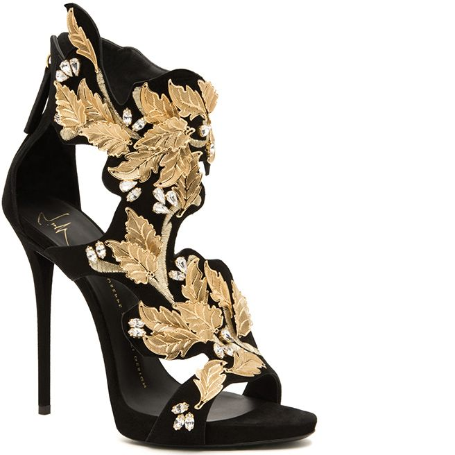 Giuseppe Zanotti Fall 2014 - Gold filigree sandal in black suede embellished with gold leaves embroiderey and clusters of crystals