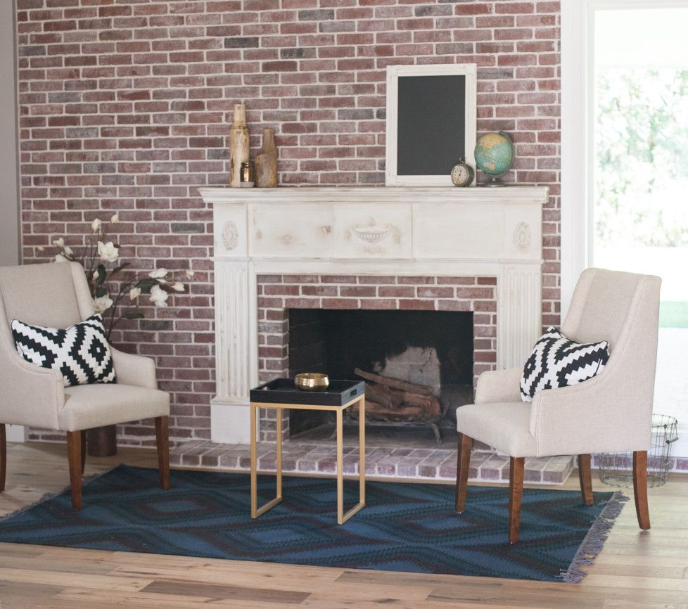 """Create a """"faux"""" mantle on top of an existing brick fire place. LOVE THIS."""