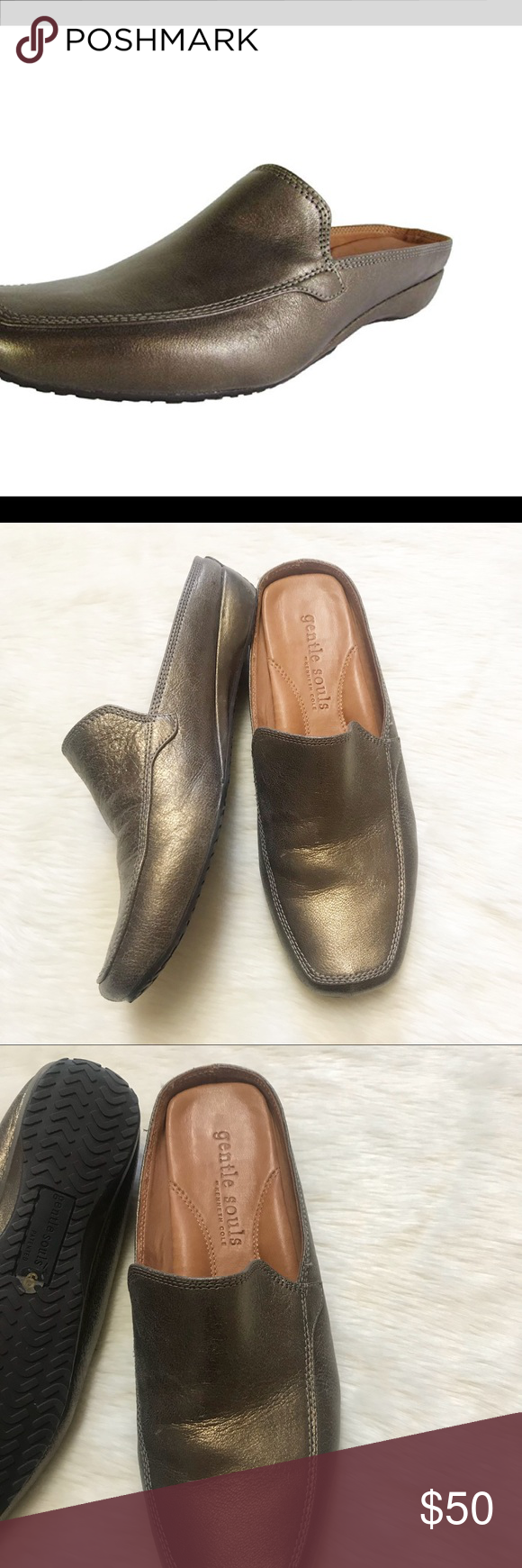 5fa04e442bb Gentle Souls by Kenneth Cole Imex Bronze Slides Gorgeous bronze leather  slides from Gentle Souls by Kenneth Cole in a size 9. This is the Imex shoe.