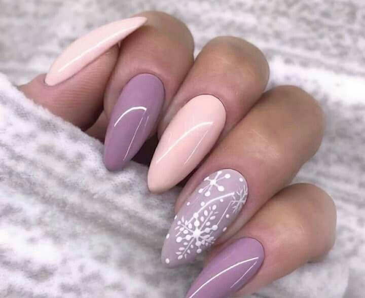 Winter Nail Design Christmas Nails Idea Lilac And Pink Nails Shellac Nail Designs Pink Nails Trendy Nails