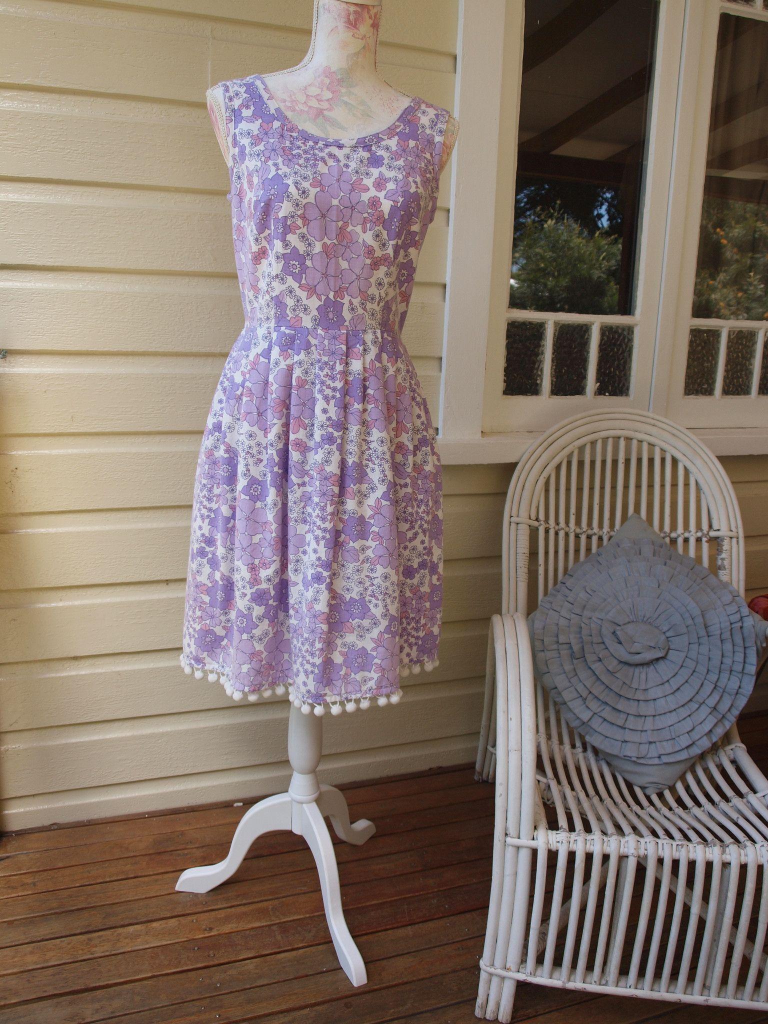 Jacca Bloom Hazel Dress sz10 by Dear Hazel, upcycled vintage fabric with pompoms!