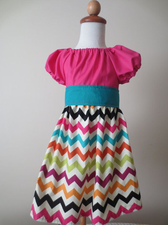 Chevron Peasant dress summer dress pink dress by BBMCreations, $33.00