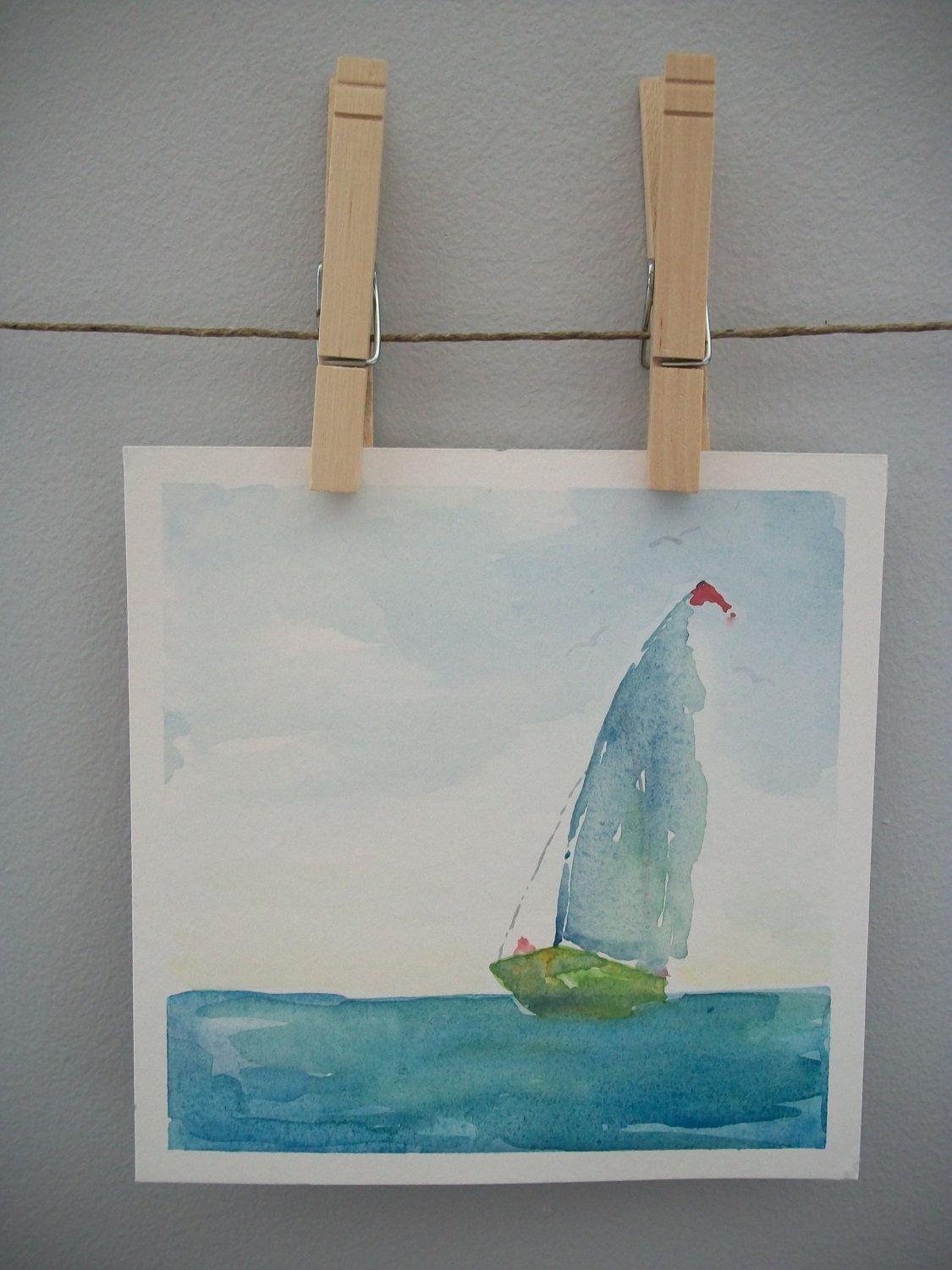 Original watercolor art for sale - Sale Clearance Rough Seas Framed Original Watercolor Painting Sailboats Abstract