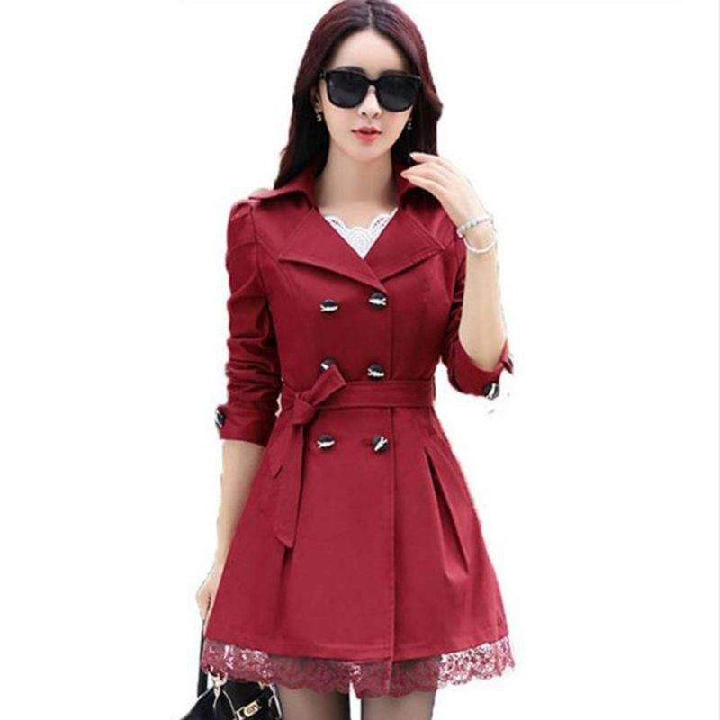 74cfe1c1662 Double Breasted Lace Women Trench Coat in 2018