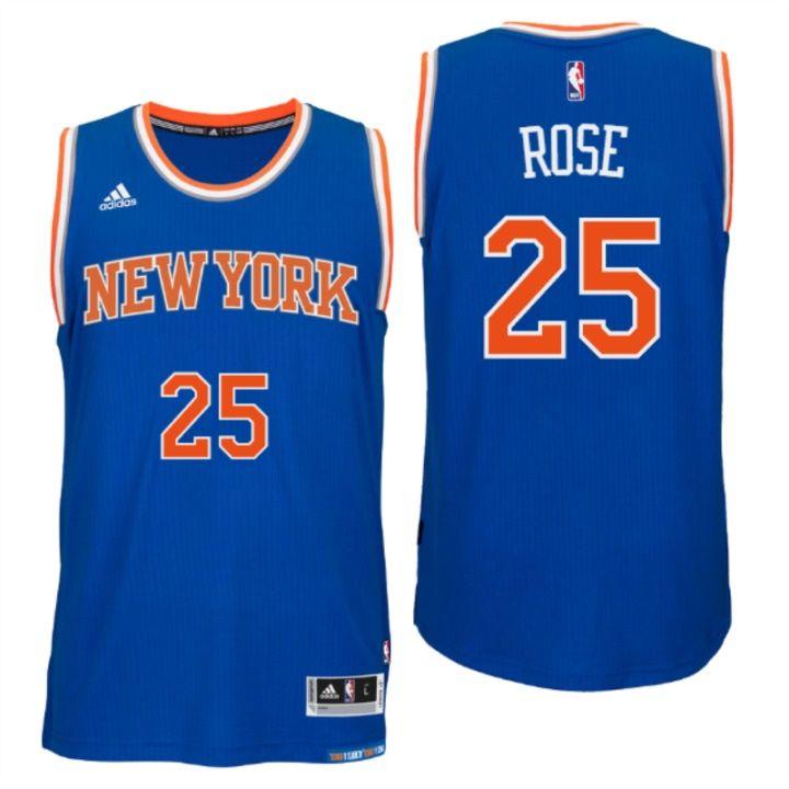 new concept 3485c f64bd New York Knicks #25 Derrick Rose New Swingman Road Blue ...