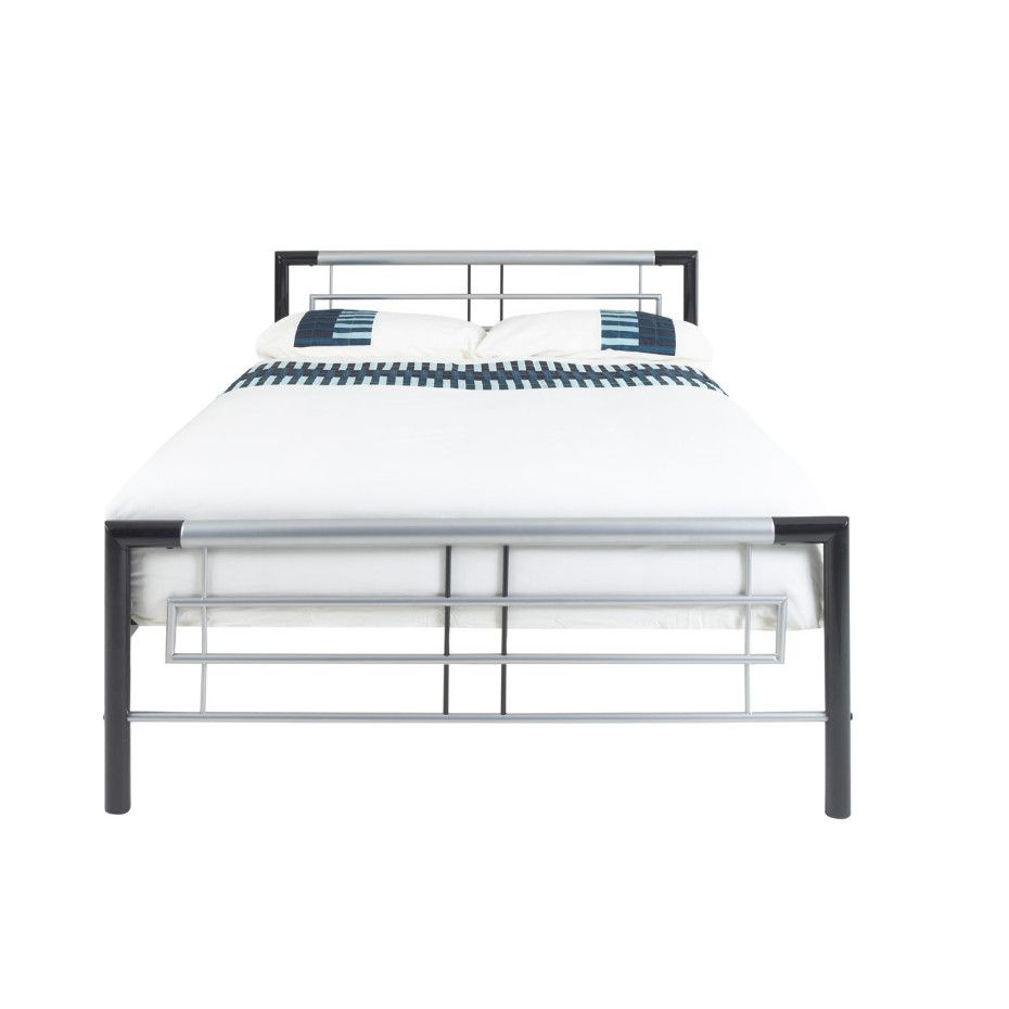 modern bed frame design with black and white twin metal bed frames features elegant decorative footboard