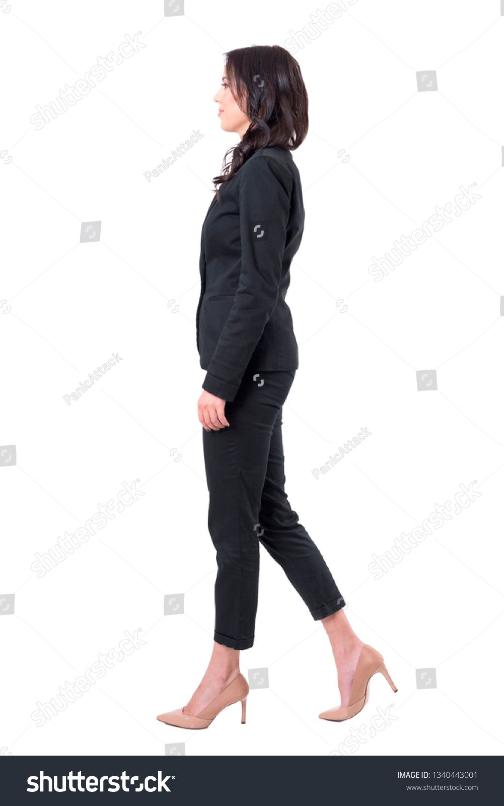 Profile View Of Elegant Business Woman In Suit Stepping Forward Full Body Isolated On White Background Ad Ad Busin With Images Suits For Women Business Women Women