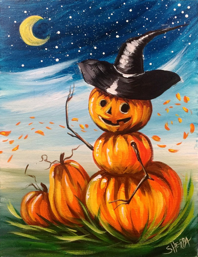 Art Sherpa 13 Days Halloween 2020 Pumpkin Man Returns Easy Acrylic Painting Step By Step 13 Days Of
