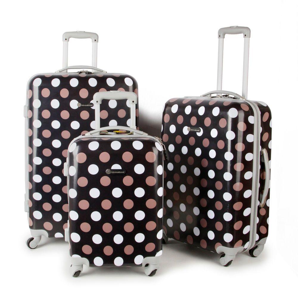 Polka Dot Super Lightweight Hard Shell Wheel Luggage Cabin ...