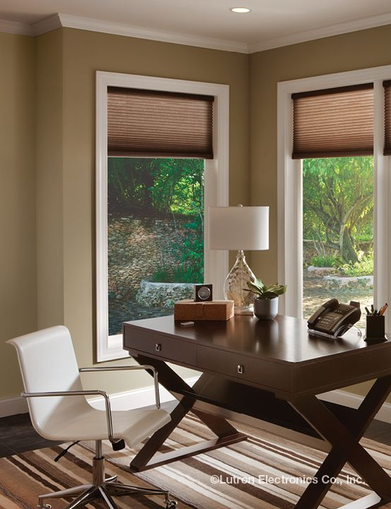 Add Elegant Motorized Shades From Lutron To Add Convenience To Your Home Office Lutron Shades Motorized Shades Home Decor Curtains With Blinds