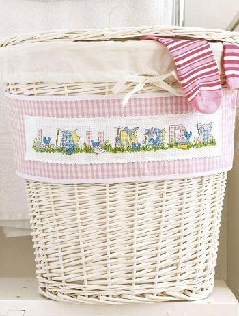 Pretty Laundry Baskets Fair Laundrythemed Alphabetcrossstitch Patternmake Your Bathroom Design Decoration