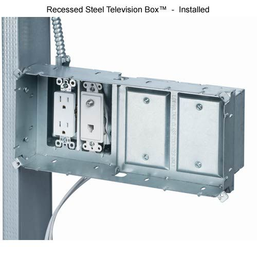 arlington industries steel recessed tv box installed icon tv and rh pinterest com Arlington Industries Recessed TV Box Recessed TV Outlet Box