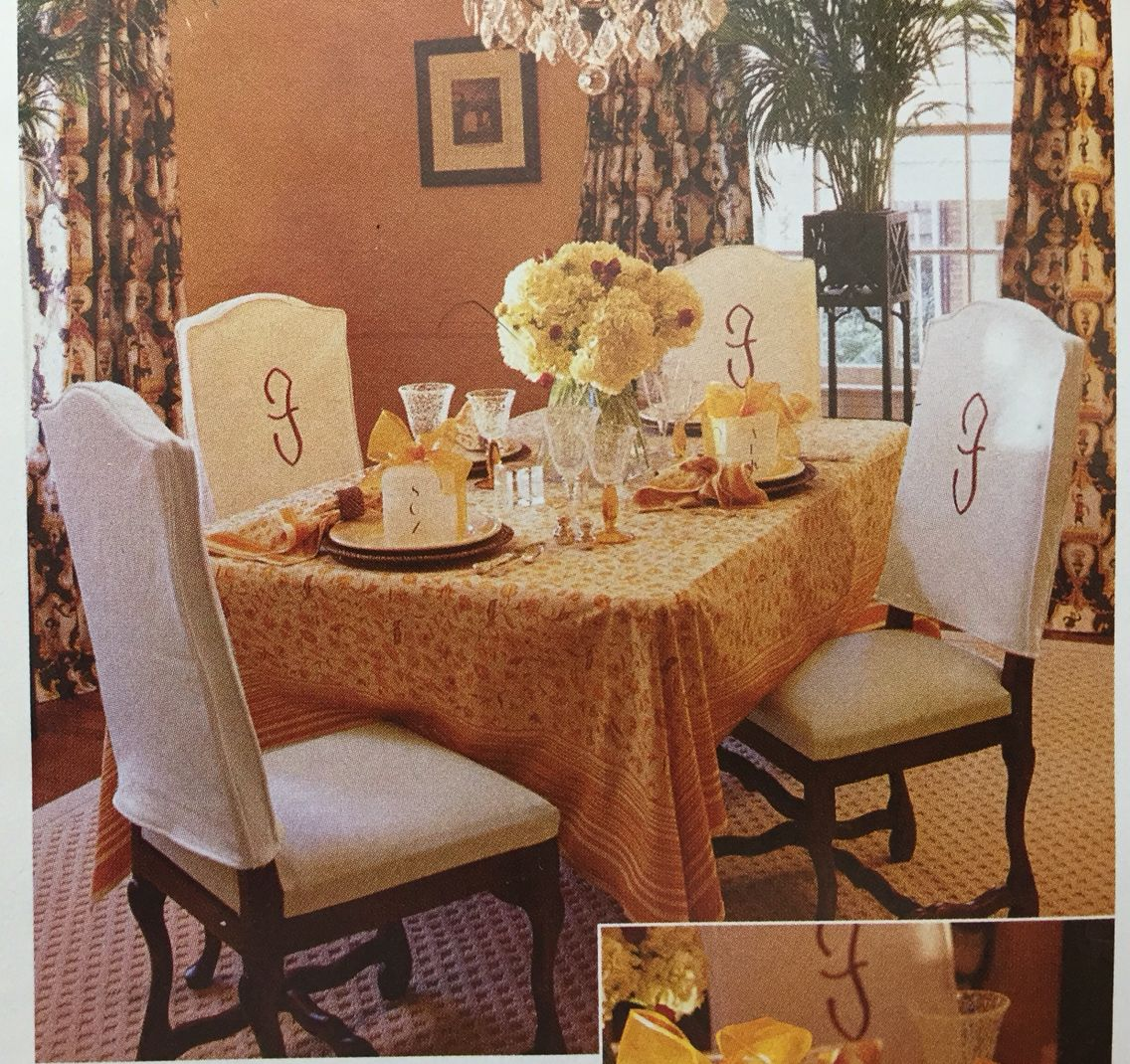 Decorate Your Dinning With These Lovely Christmas Chair: Love These Monogrammed Chair Back Slip Covers!