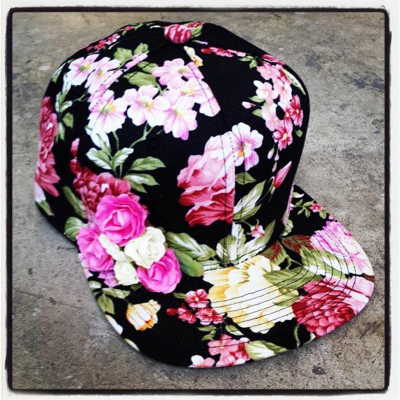 c834c0439a9 rojas floral lana del rey snapbacks hats florals snapback hat flower cap on  Etsy