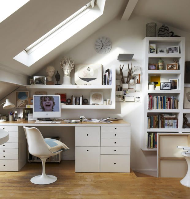 Reisebüro Arbeitsplatz Kleine räume organisieren, Dachschräge - Schlafzimmer Einrichten Kleiner Raum