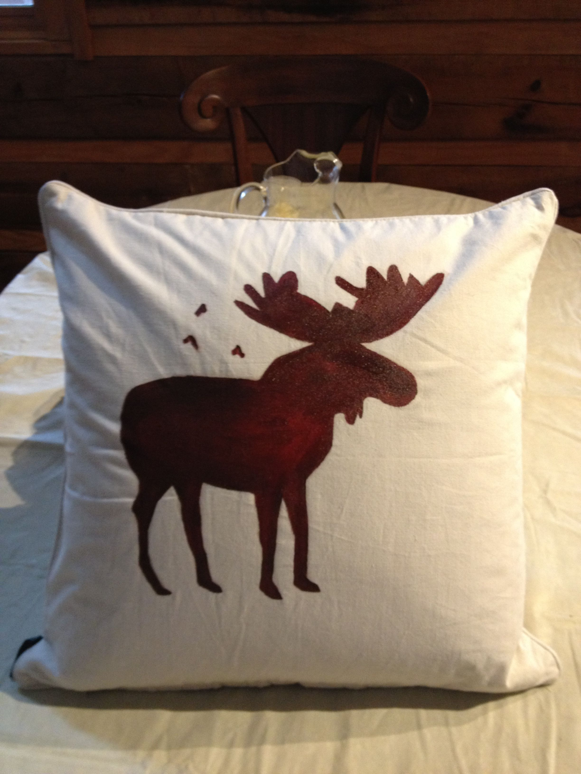 Rustic Cabin DIY: Get Cheap Plain Pillow On Clearance. Remove The Case,  Paint