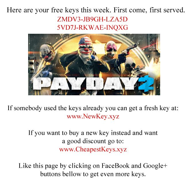 PAYDAY 2 steam key giveaway