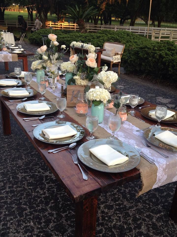 Rustic Farm Table And Chargers By A Chair Affair Rustic Farm