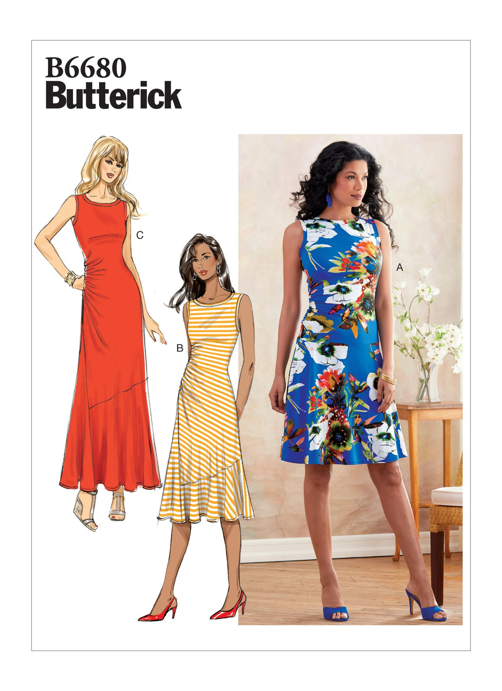 B6680 Misses Dress Sewing Pattern Butterick Patterns Knit Dress Pattern Dress Sewing Patterns Knit Dress [ 2200 x 1600 Pixel ]