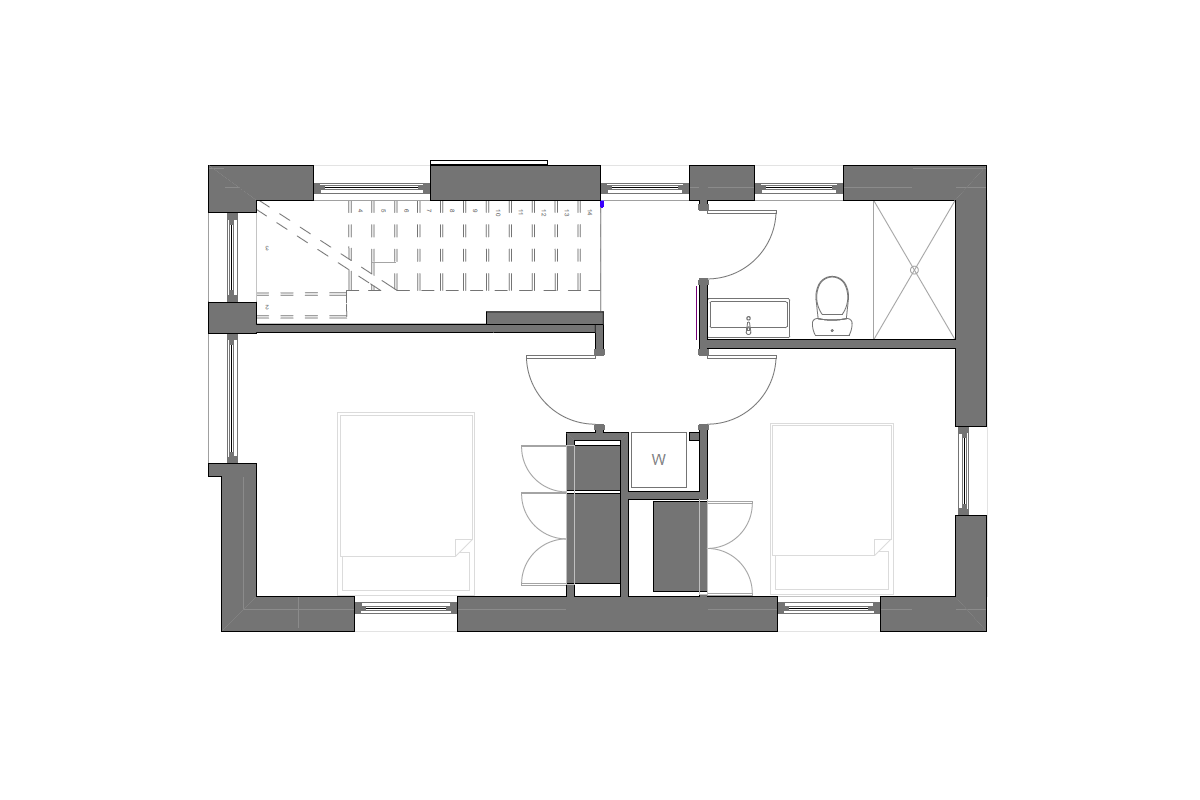Upper Floor Of A 2 Bedroom Super Insulated House In