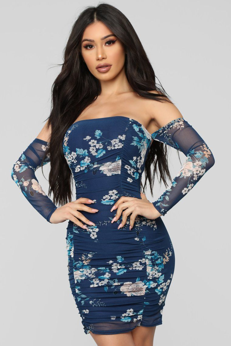 e66519026ed Seems Like A Dream Floral Ruched Dress - Navy in 2019