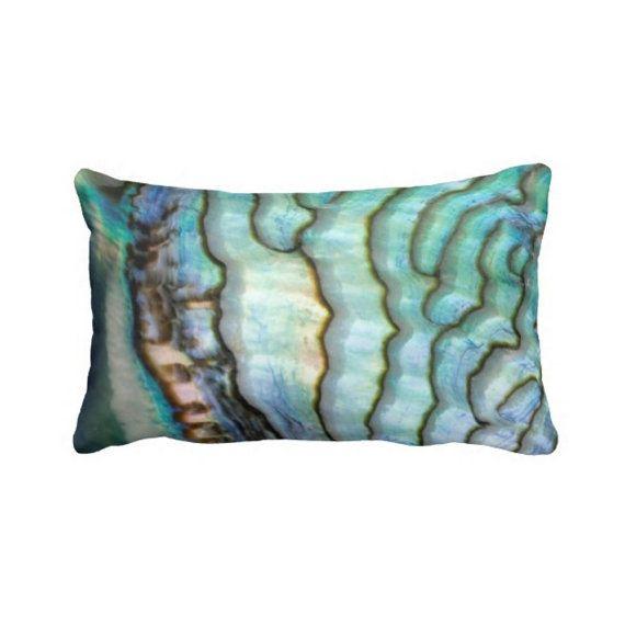 """Abalone Shell Throw Pillow Cover, Faux Blue/Green Seashell Beach/Ocean/Coastal Print 13 x 21"""" Lumbar Pillows"""