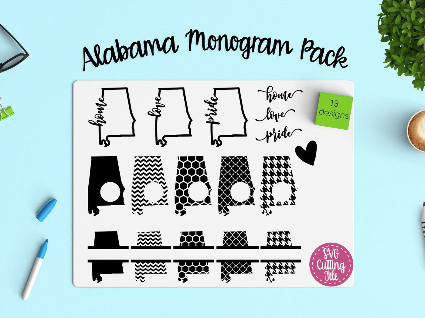 Download Alabama Monogram Frame & Home, Love, Pride Outline SVG ...