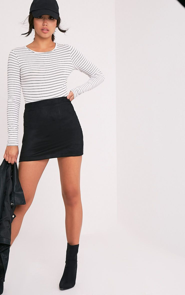 fcfbf281b2 Lauree Black Faux Suede Mini Skirt - Skirts - PrettylittleThing |  PrettyLittleThing