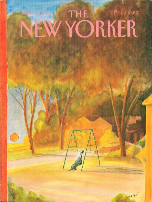 New Yorker cover Sempe man & briefcase swings 9/9 1985